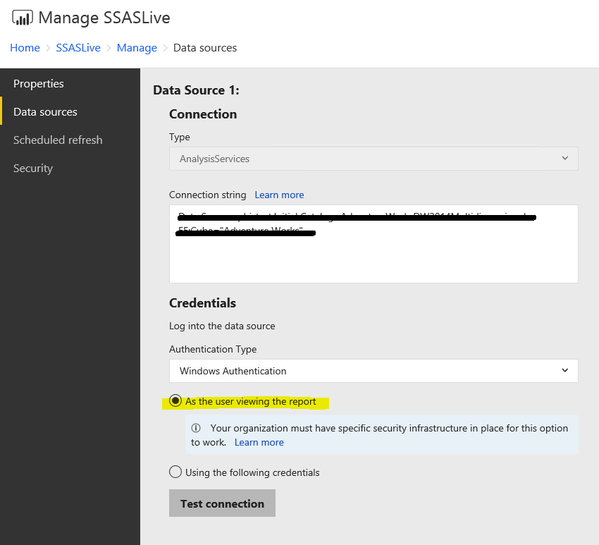 How to use SSAS with Dynamic RLS as a data source