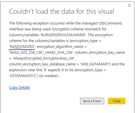 SQL Server AlwaysEncrypted not working in Power BI