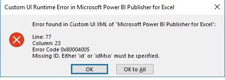 Error found in custom UI XML of
