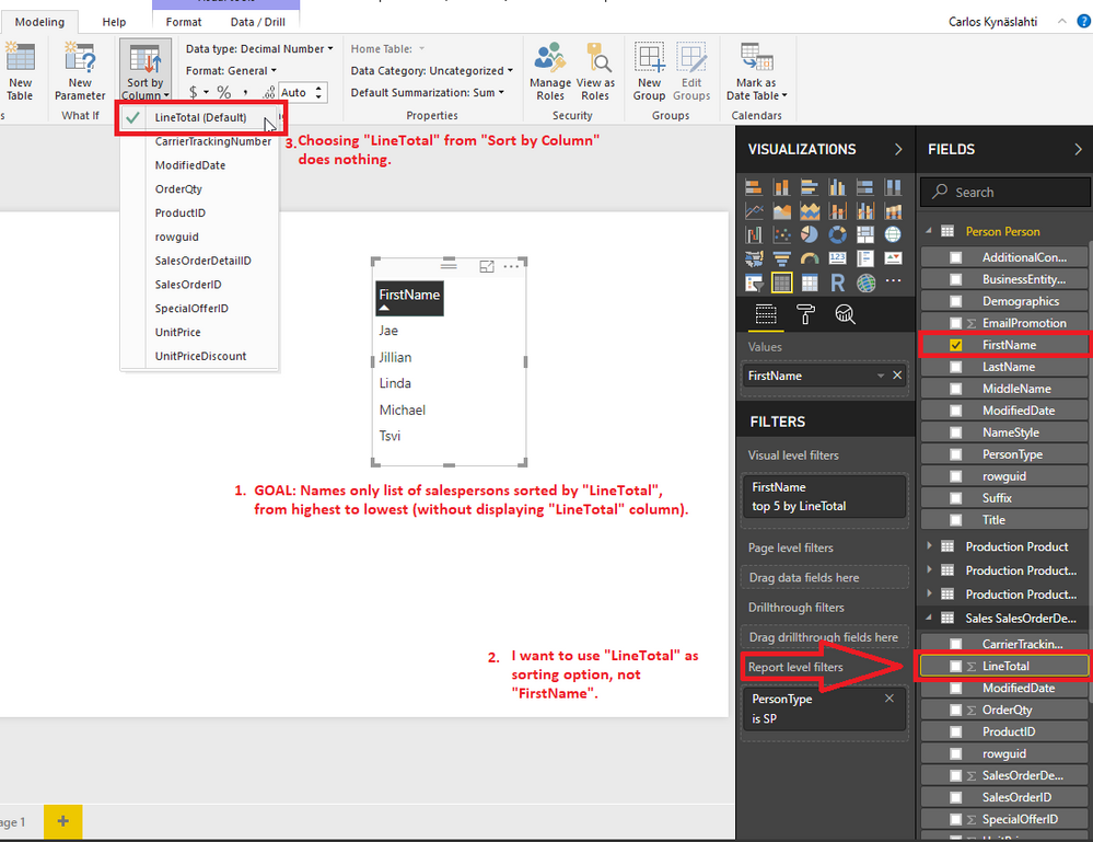 Sort by Column does not change sorting order - Microsoft