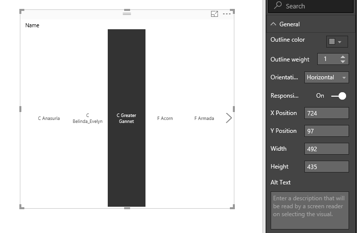 Responsive Slicer not working on PowerBI online - Microsoft