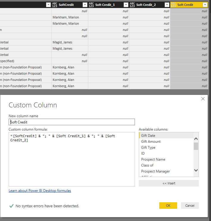 Solved: Concatenate columns in query editor with delimiter