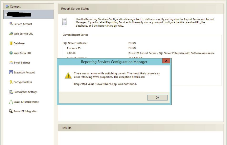 Error on Reporting Services Configuration Manager