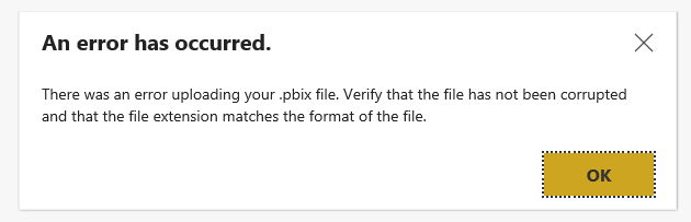 Solved: unable to save or upload  pbix file in power bi re