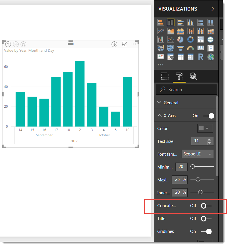 show day month and year in a timeline format microsoft power bi
