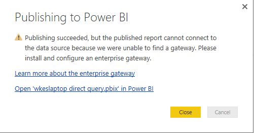 Solved: unable to find a gateway - Microsoft Power BI Community