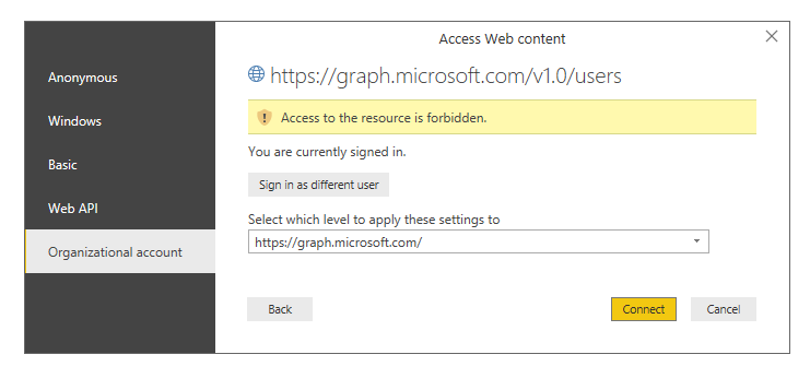 Microsoft Graph: Access to the resource is forbidd    - Microsoft