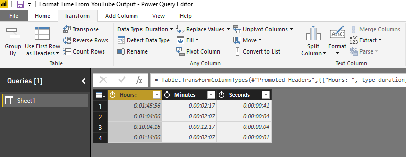 Solved: Format Time From YouTube Output - Microsoft Power BI
